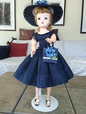 Madame Alexander Vintage Blond Cissy Wearing Tagged Navy Dress,Hat,Purse,Shoes