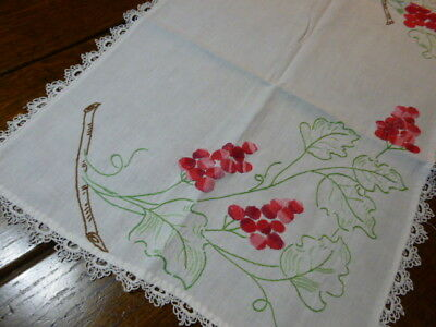 Vintage Hand Embroidered Cotton Table Runner Dresser Scarf Red Grapes on a Vine