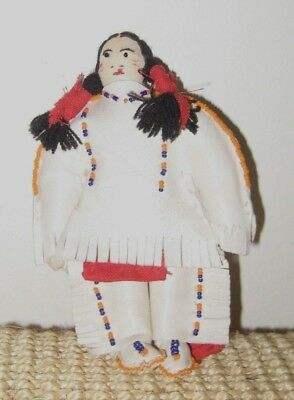 Lovely Vintage Beaded Leather Sioux Indian Doll Rosebud Sioux K. Sitting Bear