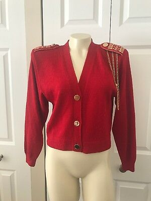 St John By Marie Gray VTG.  RED GOLD Santana Knit Cropped Jacket .P. USA. As Is.