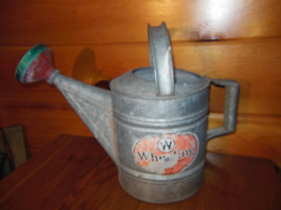 Vintage Galvanized Watering Can / Wheeling W.V. / 8 Quart Garden Water Can