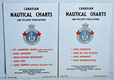 1965 Canadian Nautical Charts St Lawrence River Ontario Erie 2 & Lake Superior 4