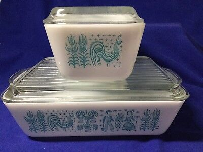 Two Vintage Pyrex Turquoise Amish Butterprint Refrigerator Dishes - #503 & #502