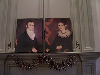 PAIR OF REPRO 19th C. MAN AND WOMEN PORTRAIT PICTURES-CANVAS