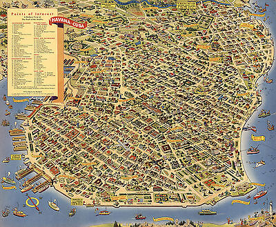 Pictorial Pic-Tour Wall Map of Havana The Pearl of the Antilles Art Poster Decor