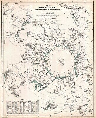 1834 Principal Rivers Map: Courses, Countries, Lengths Vintage Wall Art Poster