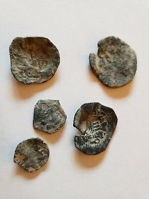 Lot of 5 Unknown Ancient Coins Roman Greek Biblical Byzantine Judea Mix Spanish