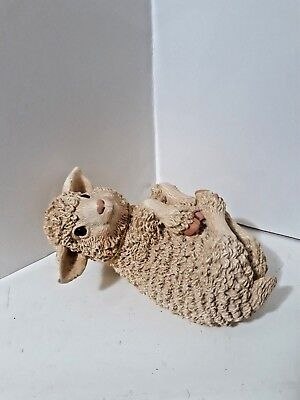 """Collectible Character  Ceramic Sheep Lying on Back 5 1/2"""" Figurine"""
