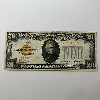 1928 $20 Gold Certificate Yellow Seal, Circulated Fine+ Nice Wood-Mellon