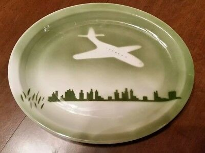 Jackson China Airbrushed Airplane platter Rockford IL Airport