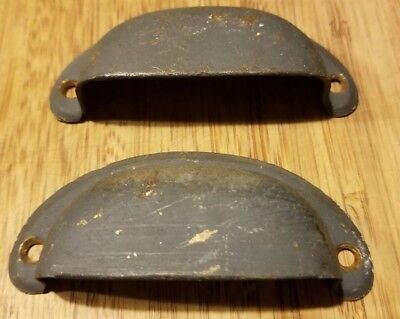 Pair of Old Antique old painted Drawer Bin Pulls Old Vintage Cottage Handles