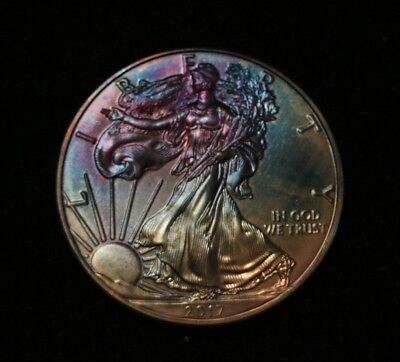 2017 American Eagle Silver Dollar1 oz Fine Silver with Beautiful Toning, Toned.