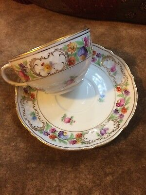 Schumann - Bavaria Empress Dresden Flowers Cups and Saucers US Zone