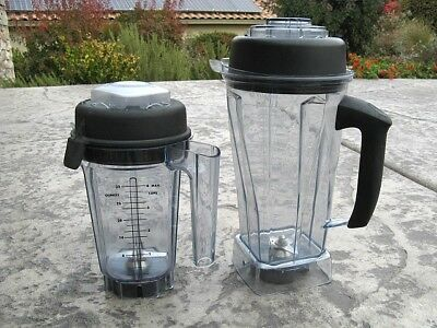 Set Of 2 Vita-Mix Blender Container s Wet & Dry With Lids