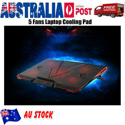 "For 12""-17"" Laptop Cooling Pad Stand Cooler 5 Fans LED Light Gaming Cooler"