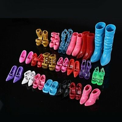 24pcs (12Pairs)Different Doll Outfit Dress High Heel Shoes Boots Sandals