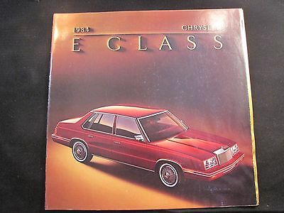 1984 Chrysler E Class Original Sales Brochure