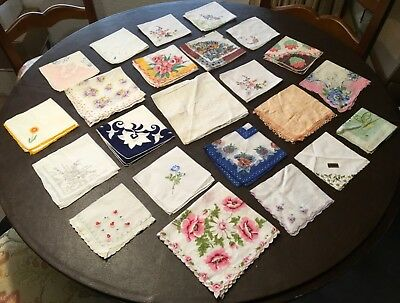 Vintage Lot Of 23 Beautiful Hankies Floral Embroidered Some New With Tags Lot 2