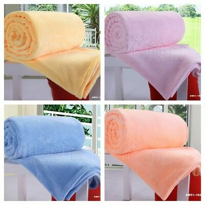 Solid Soft Sofa Fleece Single Double Queen Size Warm Throw Rug Blanket Bed Cover