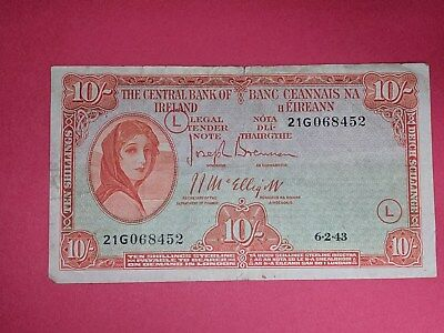 Central Bank of Ireland 10 Shillings 1943 War Code L. First Date.