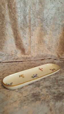 RARE Antique 19th Century MEISSEN PEN TRAY Hand Painted Floral