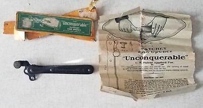 Vintage Antique UNCONQUERABLE Ratchet Tin Can Opener + Instructions