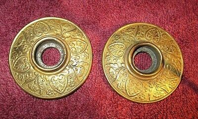 Antique Victorian Eastlake Brass Door Plates Rosettes