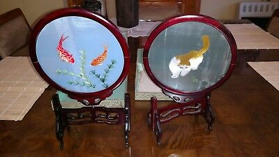 2 Pack Oriental Asian Deco Gifts 2 Sided Fish and Cat with Stands