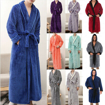 Mens Winter Lengthened Plush Shawl Bathrobe Home Sleepwear Long Sleeve Robe Coat