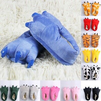 Adult Women Plush Indoor Slippers Funny Animal Paw Monster Claw Shoes Sight
