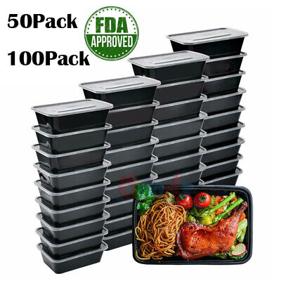 50/100PCS Meal Food Prep Containers Storage Bento Lunch Box Plastic Reusable US