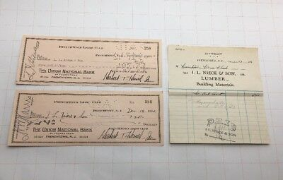 (2) 1943 Frenchtown Lions Club The Union National Bank Checks And Statement