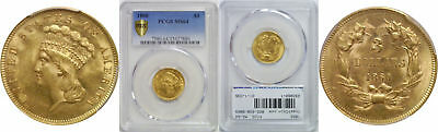 1860 $3 Gold Coin PCGS MS-64
