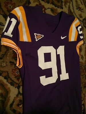 LSU Tigers Nike Game Worn PURPLE Jersey #91 2006/08 sz46 - CHARLES ALEXANDER