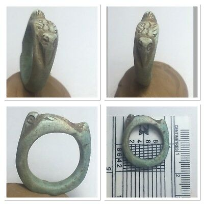 Nicest rare Egyptian faience ring bird at top