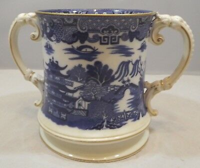 Antique Royal Worcester Willow Pattern Large Two-Handled Loving Cup 1907, h:16cm