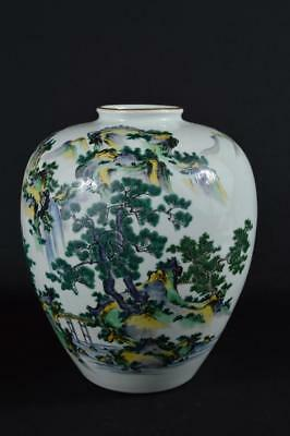 R9127: Japanese Kutani-ware Colored porcelain Landscape pattern BIG FLOWER VASE