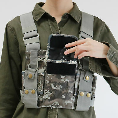 Camouglage Radio Chest Harness Front Pack Pouch Holster for Portable Radio