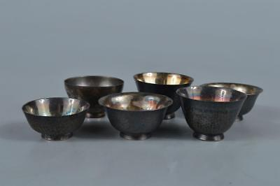 R9053: Japanese Metal TEA CUP Senchawan Bundle sale Tea Ceremony