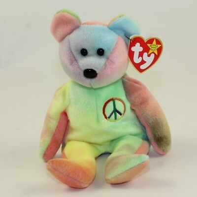7b2881d4ebd TY BEANIE BABY - PEACE the Ty-Dyed Bear (Yellow Green) (8.5 inch ...