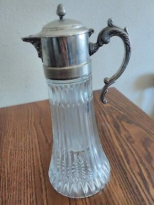 """Antique Victorian Ice Water Pitcher with Ice Insert~Glass & Silverplate Zinc~14"""""""