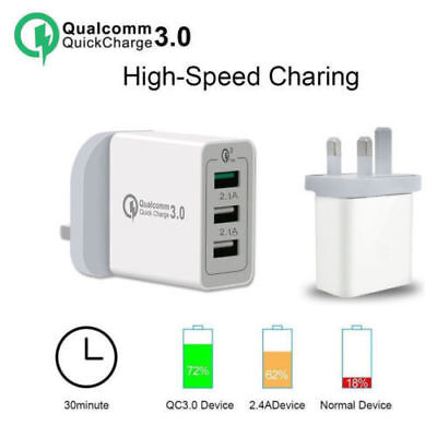 Quick Charge QC 3.0 30W 3 Ports USB Wall Charger Power Adapter for Smartphone UK