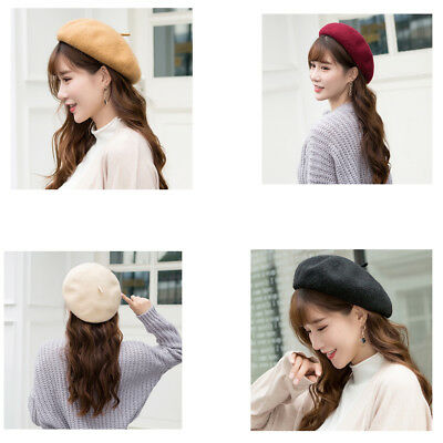 Womens Plain Beret Hat Girls Wool French Beret Winter Hats Vintage Holiday Gift