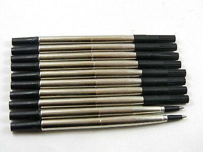 10pcs BLACK Parker Style RollerBall Pen Refills Medium Nib Practical New Great
