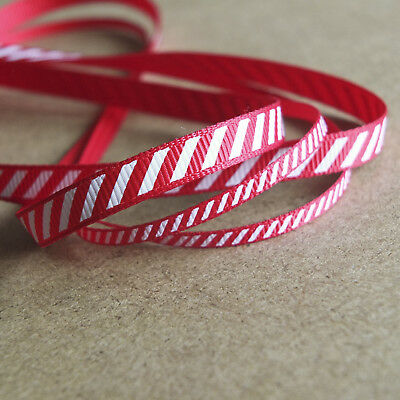 2 metres of Candy Cane Stripe Grosgrain Ribbon. 6mm and 3mm wide. Red and White