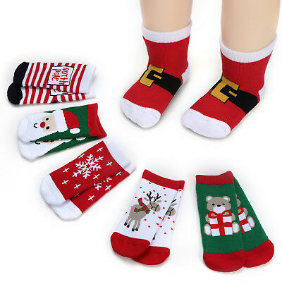 1-8Y Baby Kids Boy Girl Toddler Socks First Christmas Holiday for Gift 6 Pairs