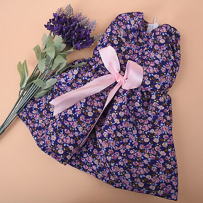 Handmade Purple Flower Bow Clothes Dress For 18 inch Doll Party Kids Toy best