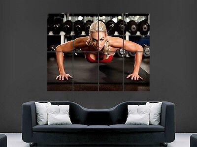 Sexy Girl Hot Press Ups Gym Fitness Poster Art Wall Large Image Giant