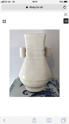 Chinese Crackle Glaze Cream Glazed Pottery Arrow Vase Character Mark To Base