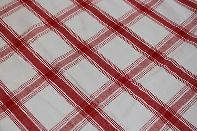 Vintage Red & White Plaid Sturdy Cotton Tablecloth 56x76